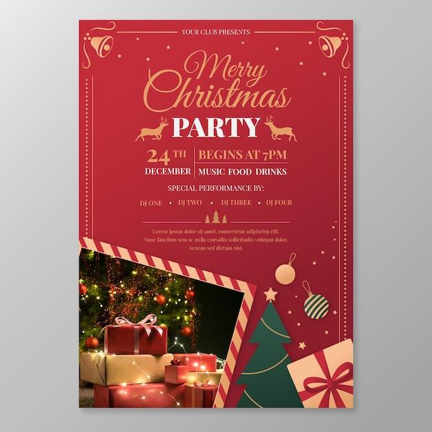 Шаблон плаката рождественской вечеринки Бесплатные векторы