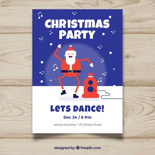 Christmas Dancing Santa.Christmas Party Poster With A Dancing Santa Claus Stock