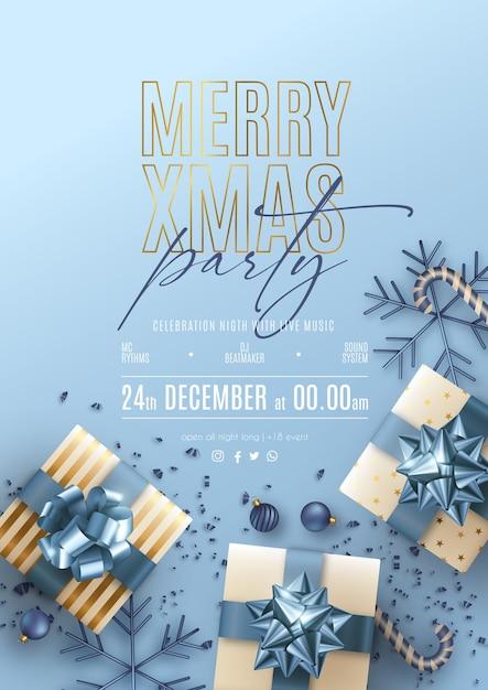파란색과 황금 장식으로 크리스마스 파티 포스터 무료 벡터