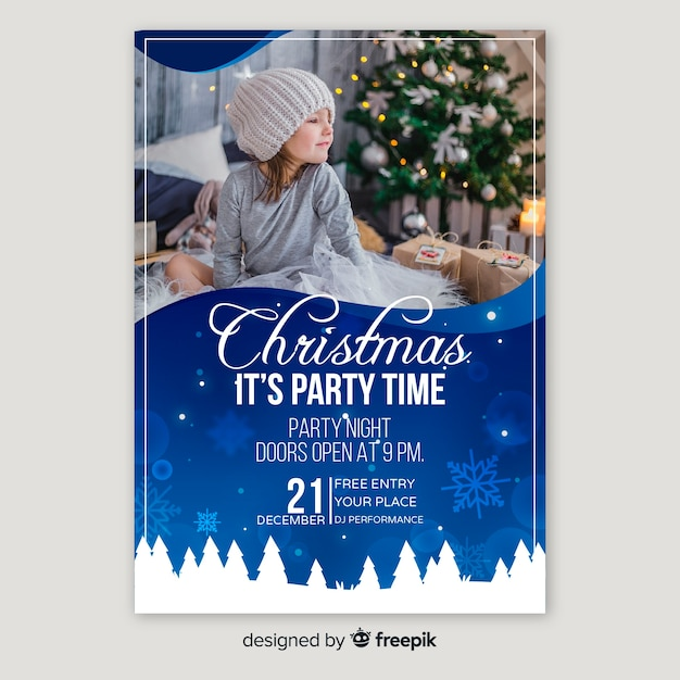 Christmas party poster with cute child Free Vector