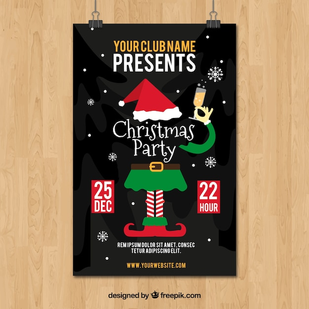 christmas party poster with elf and champagne vector free download