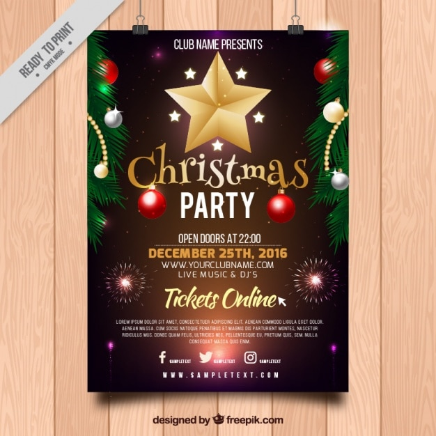 christmas party poster with ornaments free vector