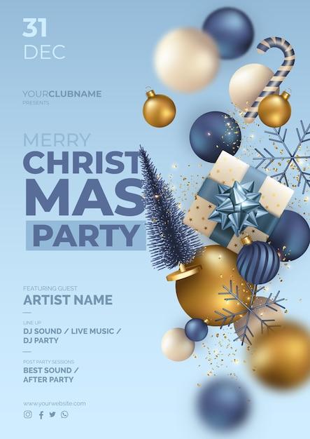 Плакат рождественской вечеринки с реалистичными летающими украшениями Бесплатные векторы