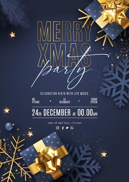 Manifesto della festa di natale con ornamenti e regali realistici Vettore gratuito