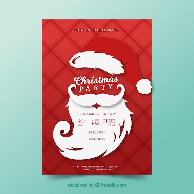 Christmas Party Poster.Christmas Party Poster With Santa Beard Vector Free Download