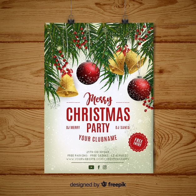 Christmas Party Poster Free Vector