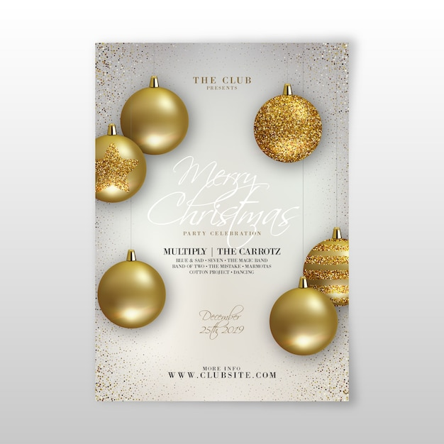 Christmas party realistic flyer template Free Vector
