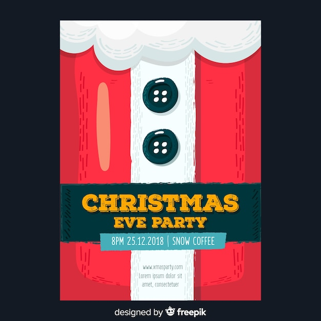Christmas party santa claus suit flyer template Free Vector