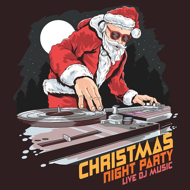 Christmas party santa dj Premium Vector