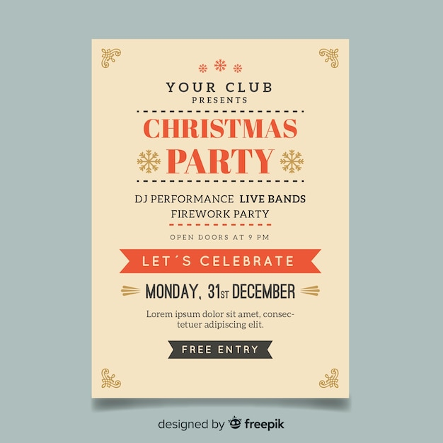 christmas party simple poster template vector free download