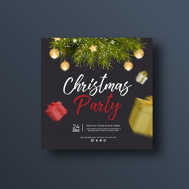 Christmas party social media banner or square flyer Premium Vector