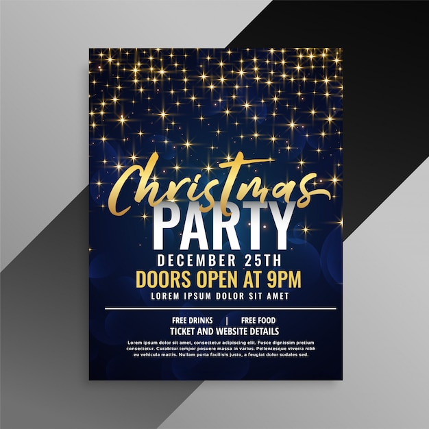 Christmas party sparkles flyer template design Free Vector