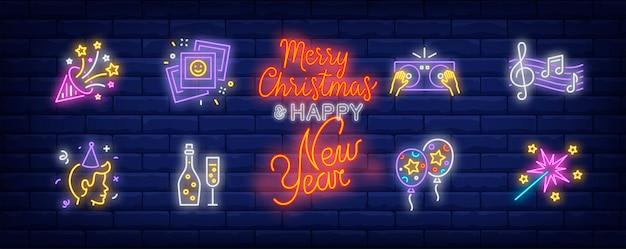 ネオンスタイルで設定されたクリスマスパーティーのシンボル 無料ベクター