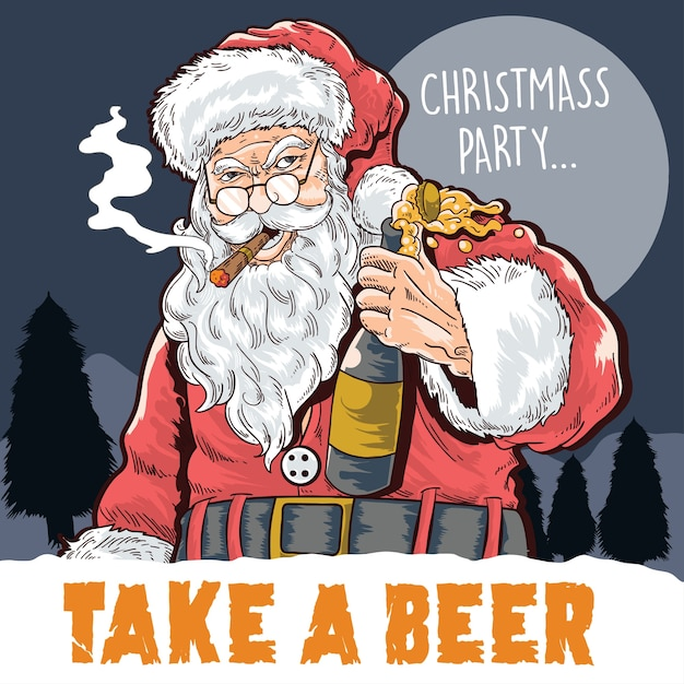 Christmas party take a beer Premium Vector