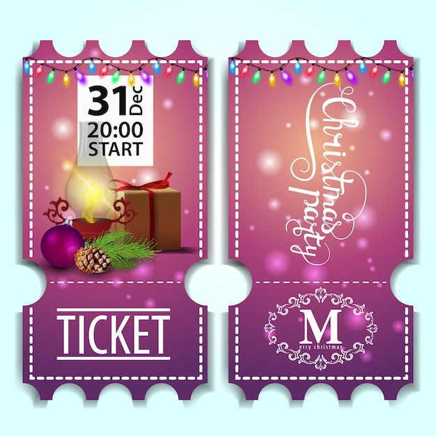 Premium Vector Christmas Party Ticket Template With Antique Lamp