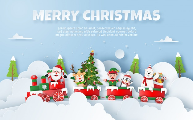 Christmas party on the train with santa claus Premium Vector