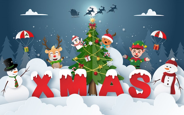Christmas party with christmas characters in the forest Premium Vector