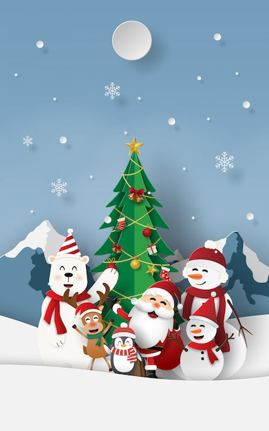 Christmas party with santa claus at snow mountain Premium Vector