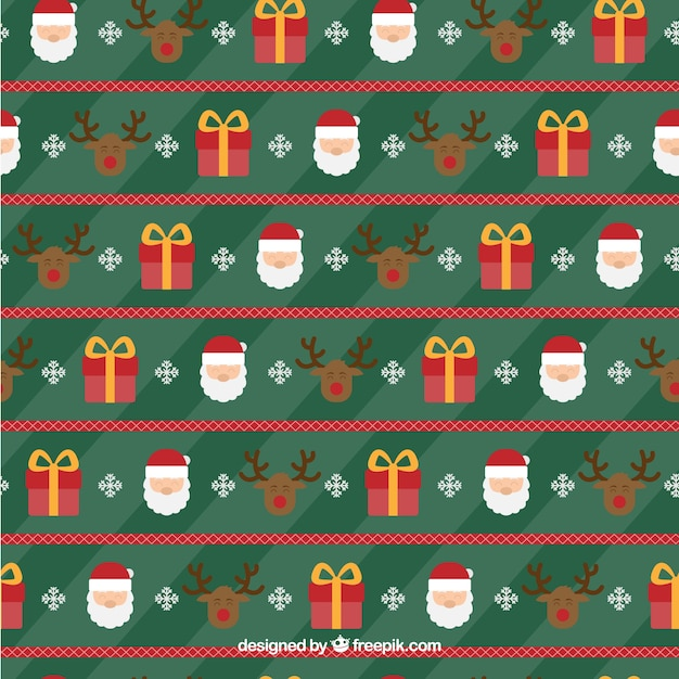 Christmas patter with santa claus and the reinder Free Vector