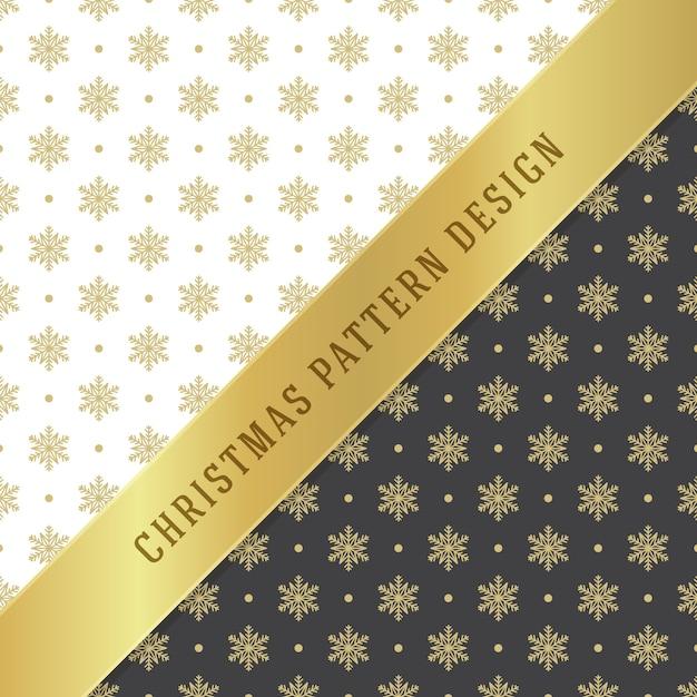 包装紙、グリーティングカード、パッケージ装飾のクリスマスパターンの背景。黄金の雪片のシンボル。 Premiumベクター