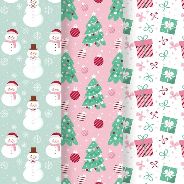 Collezione di motivi natalizi in design piatto Vettore gratuito