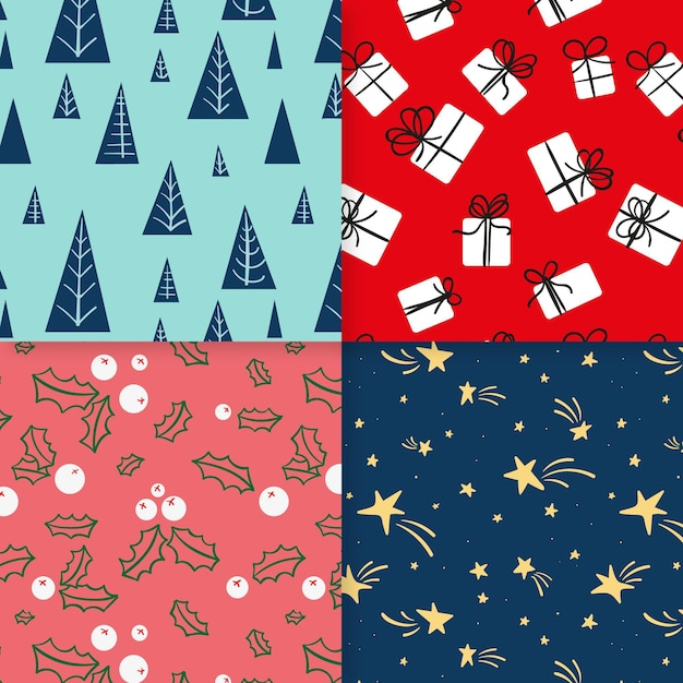 Christmas pattern collection hand drawn Free Vector