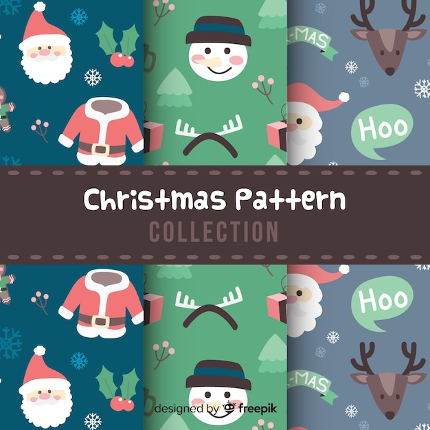 평면 디자인의 크리스마스 패턴 컬렉션 무료 벡터