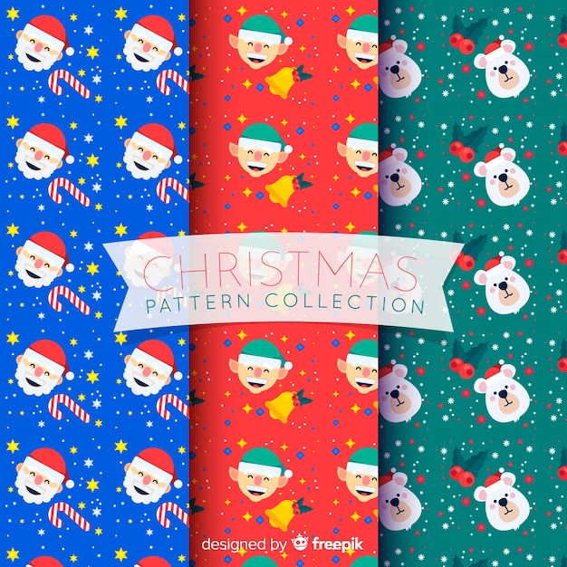 Christmas pattern collection with santa, elves and bears Free Vector
