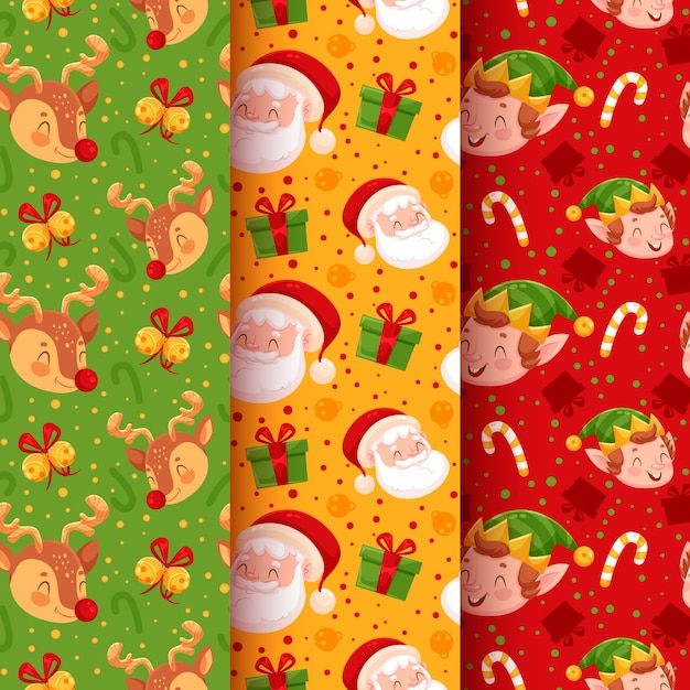 Christmas pattern collection with santa Free Vector