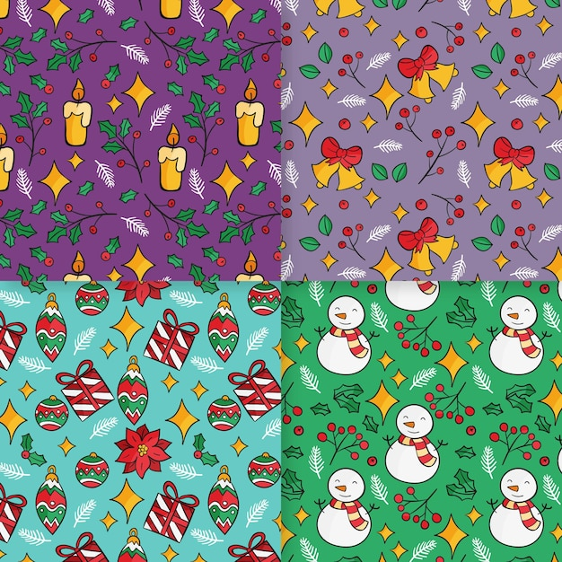 Christmas pattern collection Premium Vector