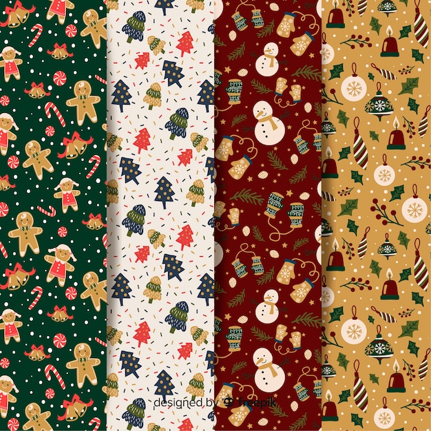 Christmas pattern flat design collection Free Vector