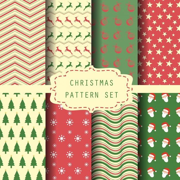 Christmas pattern set Premium Vector