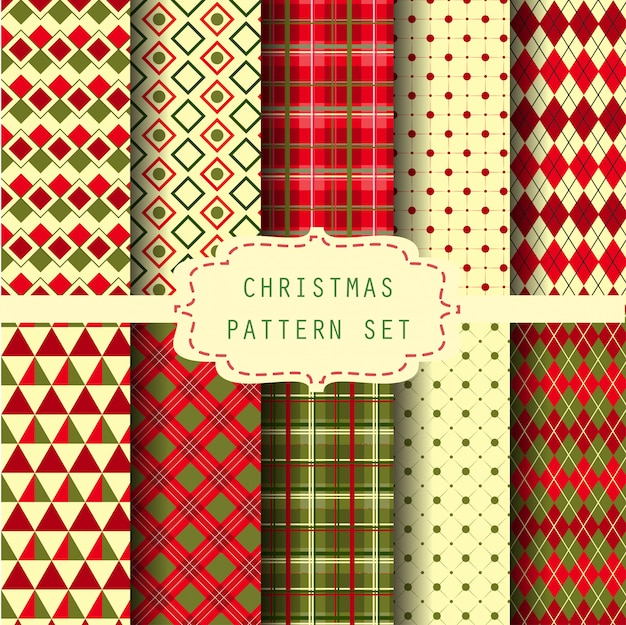 Christmas pattern set Premium Vector