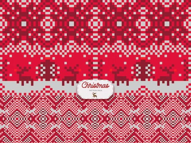 Christmas pattern triple pack Premium Vector