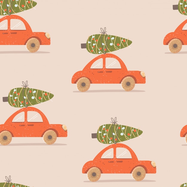 Christmas pattern with a car and a tree Premium Vector