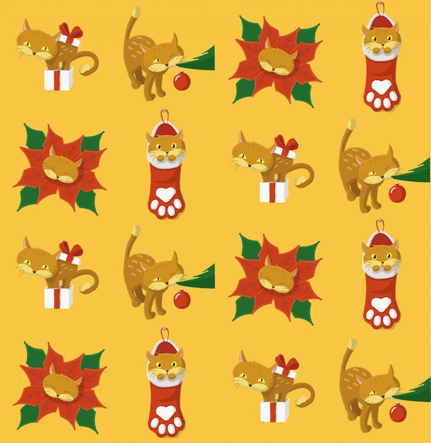 Christmas pattern with a cat playing with christmas elements Premium Vector