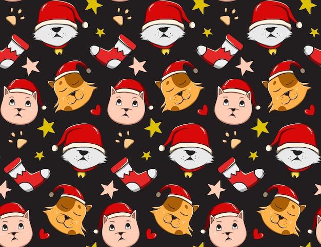猫とクリスマスのパターン Premiumベクター