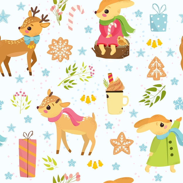 Christmas pattern with deers and hares Free Vector
