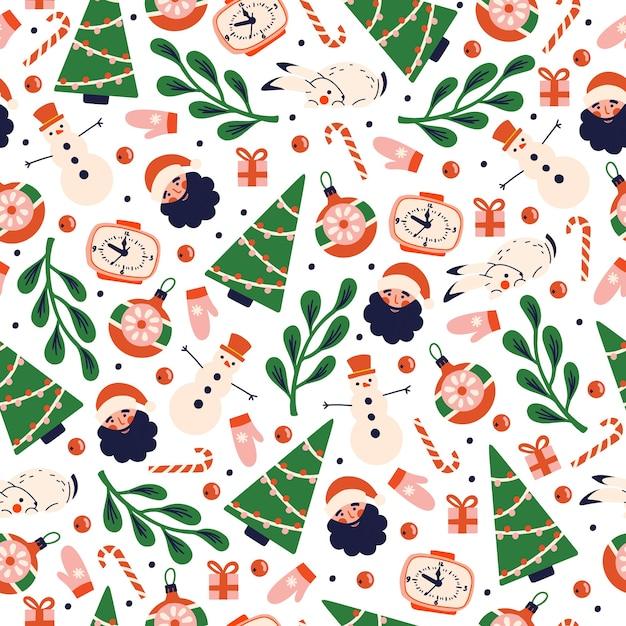 Рождественский узор с элементами праздника с елкой, санта-клаусом, белым кроликом. Premium векторы