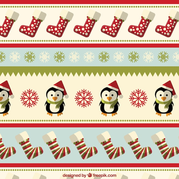 Christmas pattern with penguings and socks Free Vector