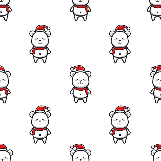 Christmas pattern with polar bears Premium Vector