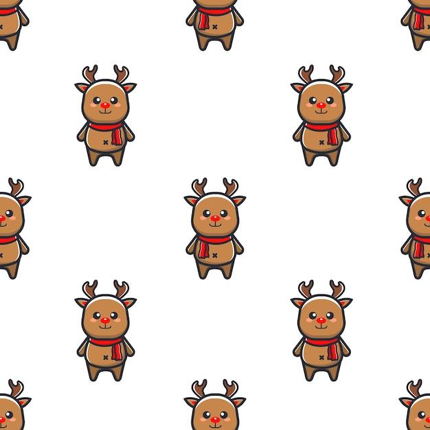 Christmas pattern with reindeer Premium Vector