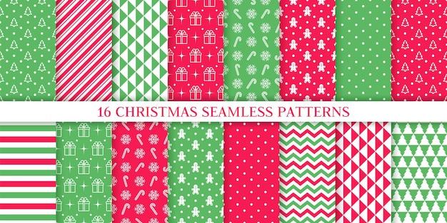 クリスマスのパターン。クリスマス新年のテクスチャ。ツリー、キャンディケインストライプと休日のシームレスな背景。 Premiumベクター
