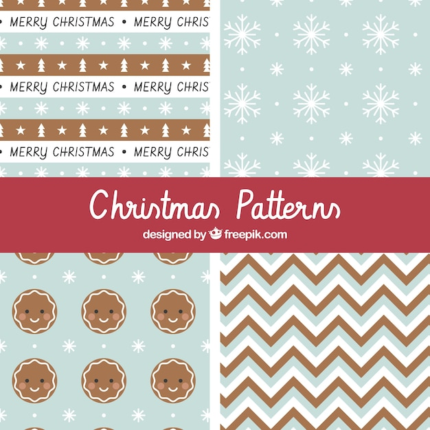 Christmas patterns in blue and brown Free Vector