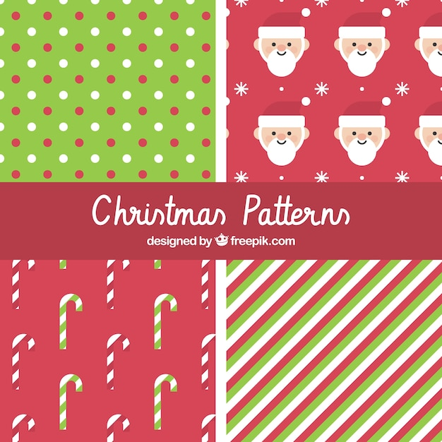 Christmas patterns in red and green Vector | Free Download