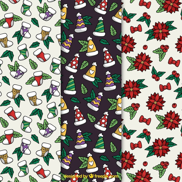 Christmas patterns with decorative elements