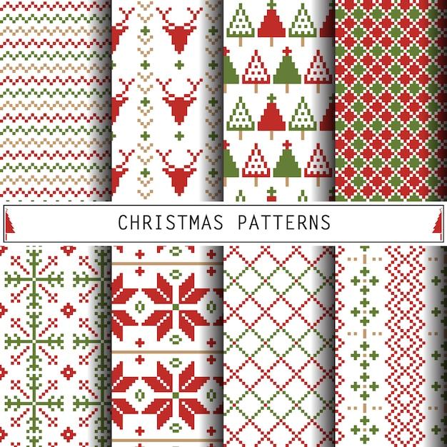 Christmas patterns Premium Vector