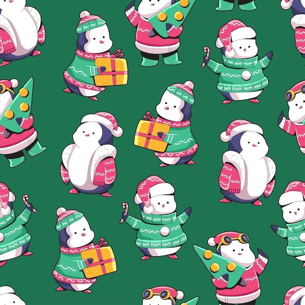 벽지, 포장, 포장 및 배경 크리스마스 펭귄 만화 원활한 패턴 배경. 프리미엄 벡터
