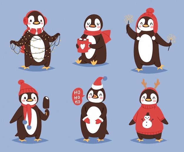 Рождество пингвин персонаж мультфильма милая птица празднуют рождество playfull счастливый пингвин лицо улыбка иллюстрация в санта-red hat Premium векторы