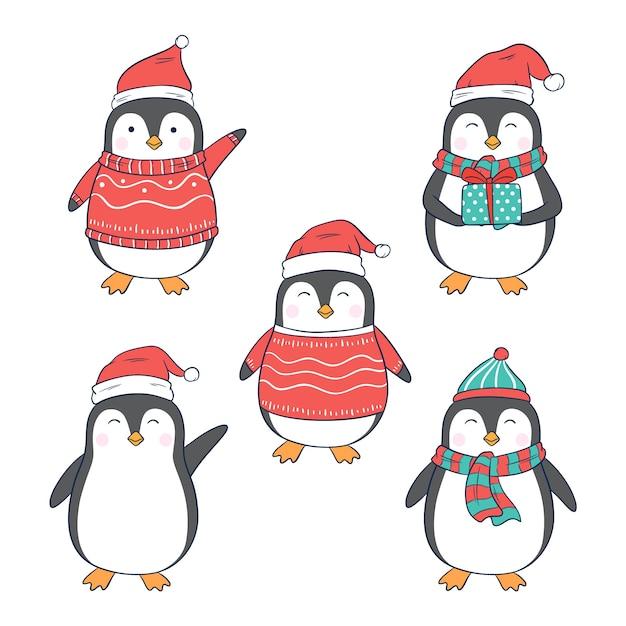 Premium Vector Christmas Penguin Character With Different Clothes And Style